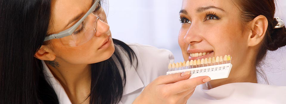 Dentist comparing veneers